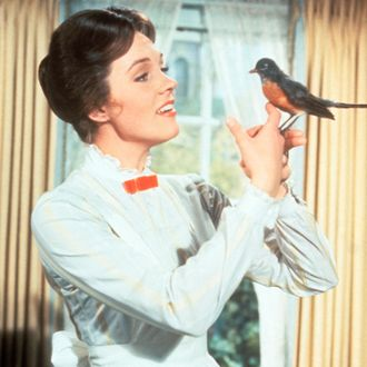 Julie Andrews with a robin