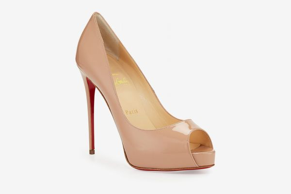 Christian Louboutin New Very Prive Patent Red Sole Pump (Beige)