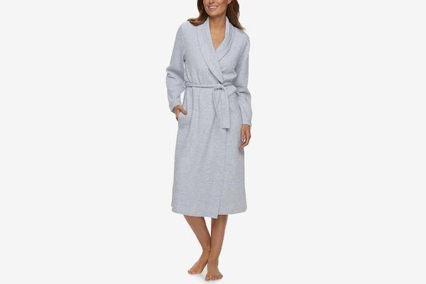 Women's Croft & Barrow Waffle-Knit Long Kimono Robe