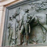 The restored monument to the Marquis de Lafayette is seen at