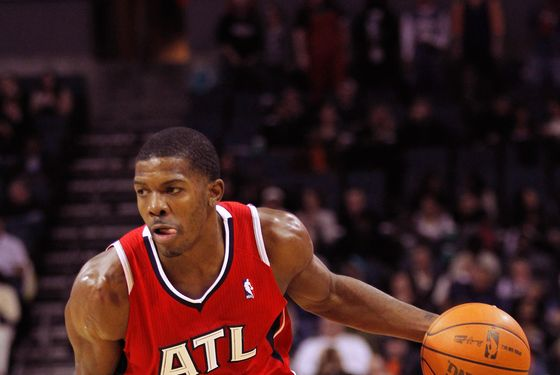 CHARLOTTE, NC - JANUARY 06:  Joe Johnson #2 of the Atlanta Hawks against the Charlotte Bobcats during their game at Time Warner Cable Arena on January 6, 2012 in Charlotte, North Carolina.  NOTE TO USER: User expressly acknowledges and agrees that, by downloading and or using this photograph, User is consenting to the terms and conditions of the Getty Images License Agreement.  (Photo by Streeter Lecka/Getty Images) *** Local Caption *** Joe Johnson