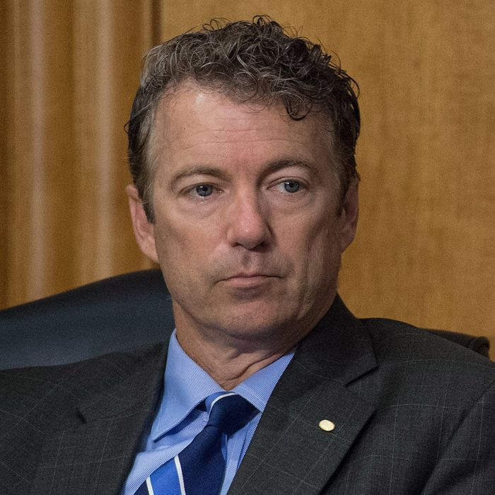 US Republican Senator from Kentucky Rand Paul looks on during a Senate Foreign Relations Committee hearing on the situation in Ukraine on Capitol Hill in Washington on May 6, 2014. AFP PHOTO/Nicholas KAMM (Photo credit should read NICHOLAS KAMM/AFP/Getty Images)