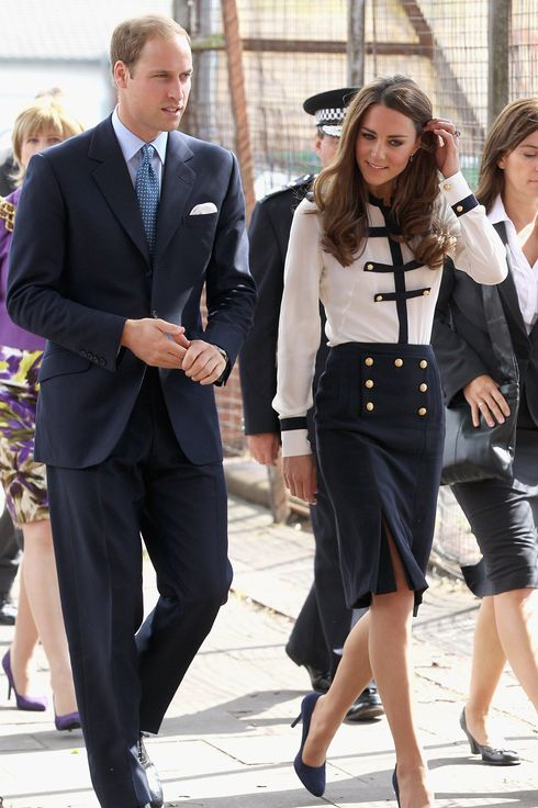BIRMINGHAM, ENGLAND - AUGUST 19: Prince William, Duke of Cambridge and Catherine, Duchess of Cambridge arrive at Summerfield Community Centre, on August 19, 2011 in Birmingham, England. The Centre is at the heart of the Winson Green Community which was very badly affected by the riots last week.   (Photo by Chris Jackson/Getty Images)