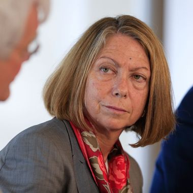 Jill Abramson, executive editor of The New York Times, listens during a panel discussion on the sidelines of the Republican National Convention (RNC) in Tampa, Florida, U.S., on Sunday, Aug. 26, 2012. The discussion, held across the river from the Republican National Convention, was sponsored by Bloomberg, the University of Southern California?s Annenberg Center on Communication, Leadership and Policy and the Institute of Politics at Harvard University?s John F. Kennedy School of Government.