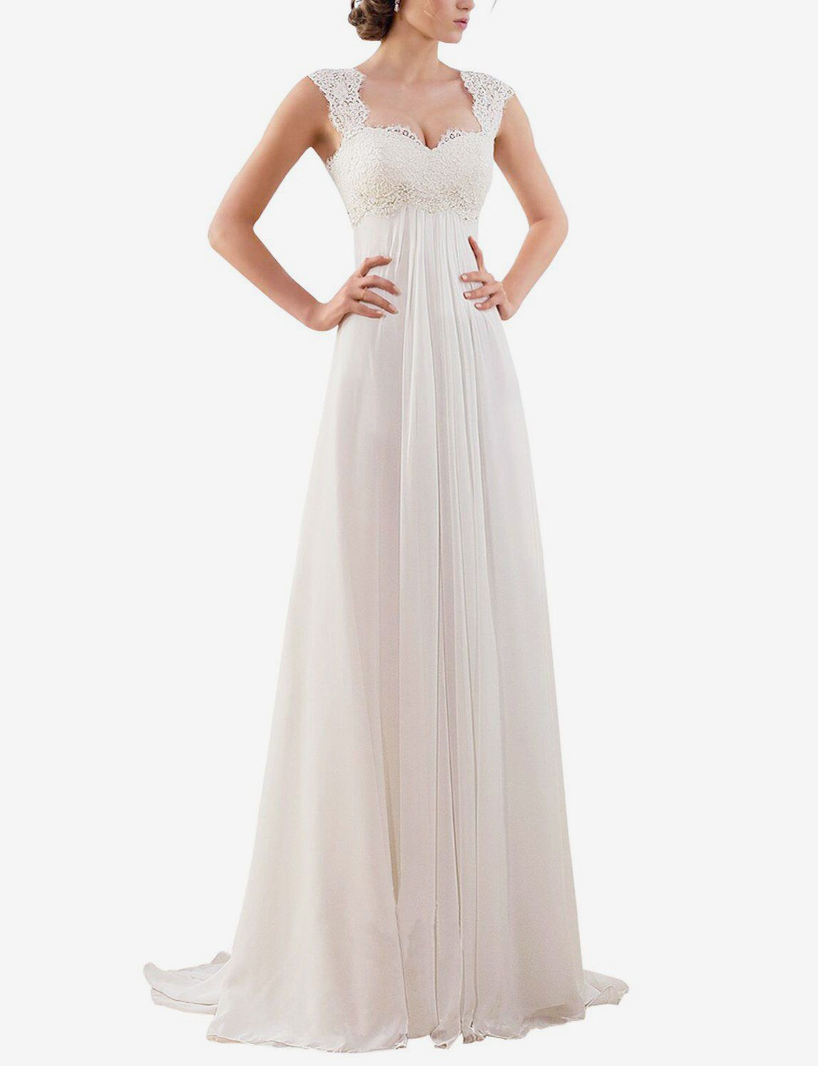 Erosebridal Sleeveless Lace Chiffon Bridal Gown