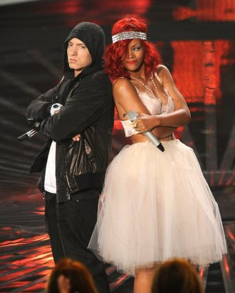 LOS ANGELES, CA - SEPTEMBER 12: Eminem and Rihanna perform on stage at the 2010 MTV Video Music Awards held at Nokia Theatre L.A. Live on September 12, 2010 in Los Angeles, California. (Photo by Kevin Mazur/EM/WireImage) *** Local Caption *** Eminem;Rihanna