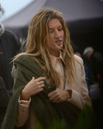 Gisele on the beach in Barcelona.