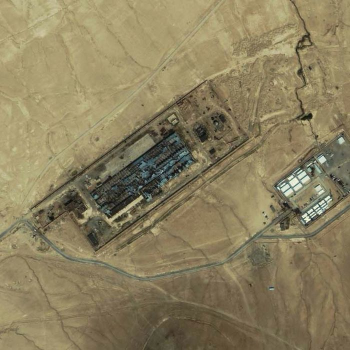 An IKONOS satellite image of a facility near Kabul, Afghanistan taken on July 17, 2003. A Washington Post on November 2, 2005 refers to this facility as the largest CIA covert prison in Afghanistan, code-named the Salt Pit.