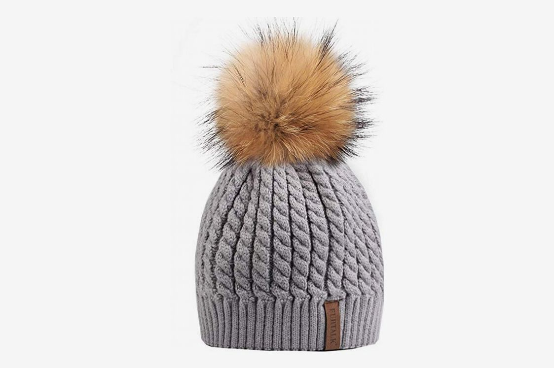 b6e32b2d7300c Best women s beanie with real fur pom-pom. Furtalk Winter Beanie Hat. ""
