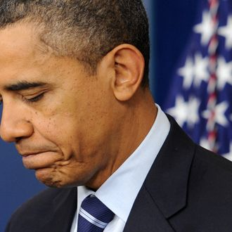 WASHINGTON, DC - DECEMBER 17: (AFP OUT) U.S. President Barack Obama turns away from the podium after delivering a statement at the White House December 17, 2011 in Washington, DC. The U.S. Senate approved a two-month payroll tax cut and extension of unemployment benefits today, with a provision that requires President Obama to make a decision on the Keystone XL oil pipeline within two months. (Photo by Michael Reynolds-Pool/Getty Images)
