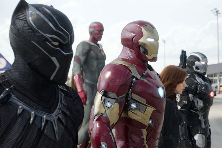 Marvel's Captain America: Civil WarL to R: Black Panther/T'Challa (Chadwick Boseman), Vision (Paul Bettany), Iron Man/Tony Stark (Robert Downey Jr.), Black Widow/Natasha Romanoff (Scarlett Johansson), and War Machine/James Rhodey (Don Cheadle).Photo Credit: Film Frame© Marvel 2016