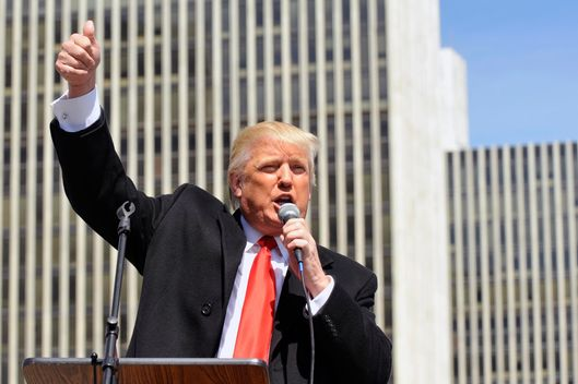 Businessman Trump speaks during a pro-gun rally at the Empire State Plaza in Albany