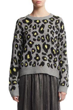 Scoop Women's Leopard Print Crewneck Sweater