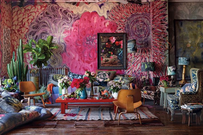 The fantastical wall mural was created by Thompson's partner, the artist Dove Drury Hornbuckle.