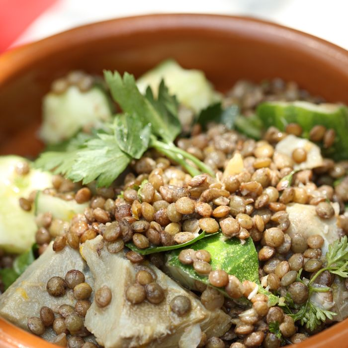 Artichokes and lentils from the Standard Plaza.