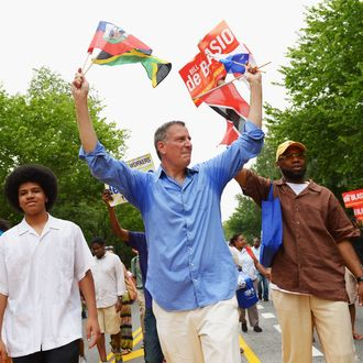Mayoral candidate Bill de Blasio campaigns at the West Indian Day Parade on September 2, 2013 in the Brooklyn borough of New York City. Over a million people are expected to attend the 46th annual parade.