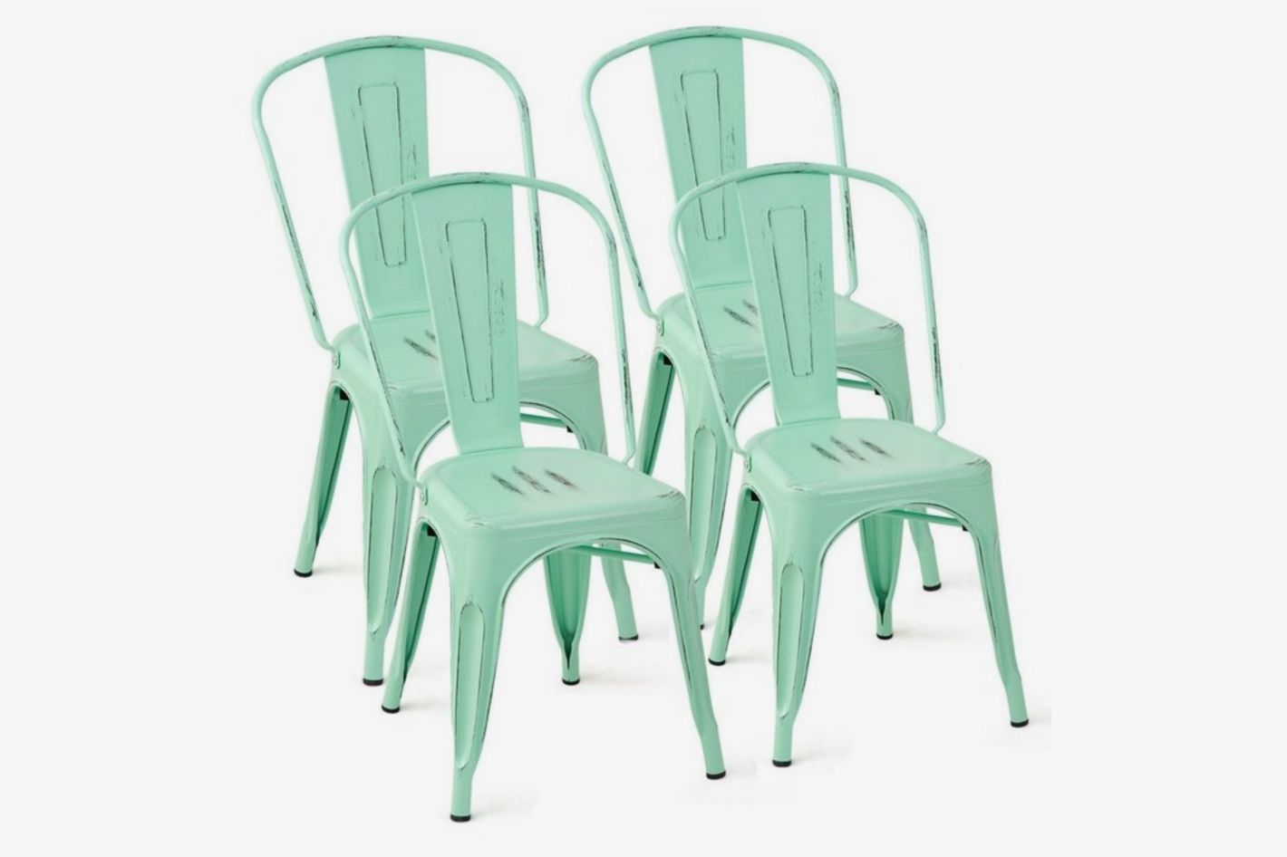 Tolix Style Dining Chair Stackable Bistro Chair, Green (Set of 4)