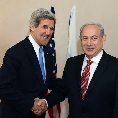 JERUSALEM, ISRAEL - APRIL 09: In this handout image provided by U.S. Embassy Tel Aviv, Israel's Prime minister Benjamin Netanyahu shakes hands with U.S. Secretary of State John Kerry on April 09, 2013 in Jerusalem, Israel.  Secretary Kerry is in the region to meet with Israeli and Palestinian officials in an attempt to help restart the peace process.(Photo by Matty Ster/U.S. Embassy Tel Aviv via Getty Images)