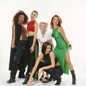 The Spice Girls, circa 1996. They are Geri Halliwell, Melanie Brown, Victoria Adams, Emma Bunton and Melanie Chisholm.