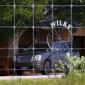 A sign bearing the name Wilks can be seen on the Faris Wilks compound near Cisco