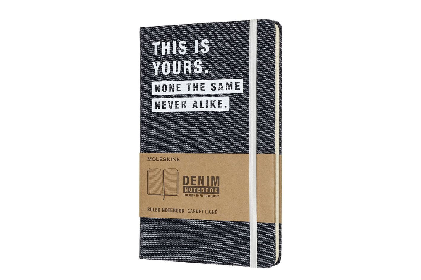 Moleskine Limited Collection Denim Notebook, Large, Ruled, Navy Blue