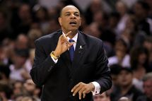 SAN ANTONIO, TX - MAY 19:  Head coach Lionel Hollins of the Memphis Grizzlies reacts in the first half against the San Antonio Spurs during Game One of the Western Conference Finals of the 2013 NBA Playoffs at AT&T Center on May 19, 2013 in San Antonio, Texas.  NOTE TO USER: User expressly acknowledges and agrees that, by downloading and or using this photograph, User is consenting to the terms and conditions of the Getty Images License Agreement.  (Photo by Ronald Martinez/Getty Images)