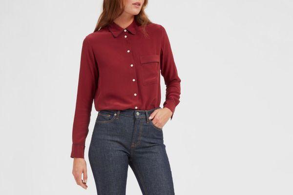 Everlane Piped Silk Pocket Shirt