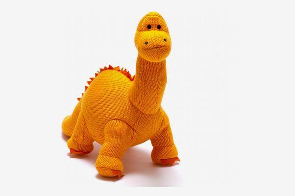 Knitted Dinosaur Soft Toy, Orange Diplodocus