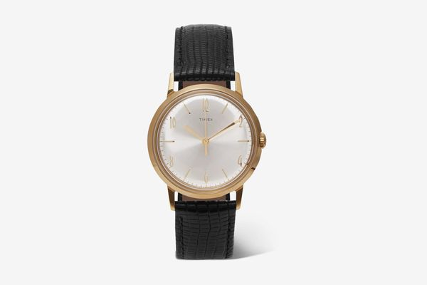 Timex Marlin Hand-Wound 34mm Gold-Tone And Textured-Leather Watch