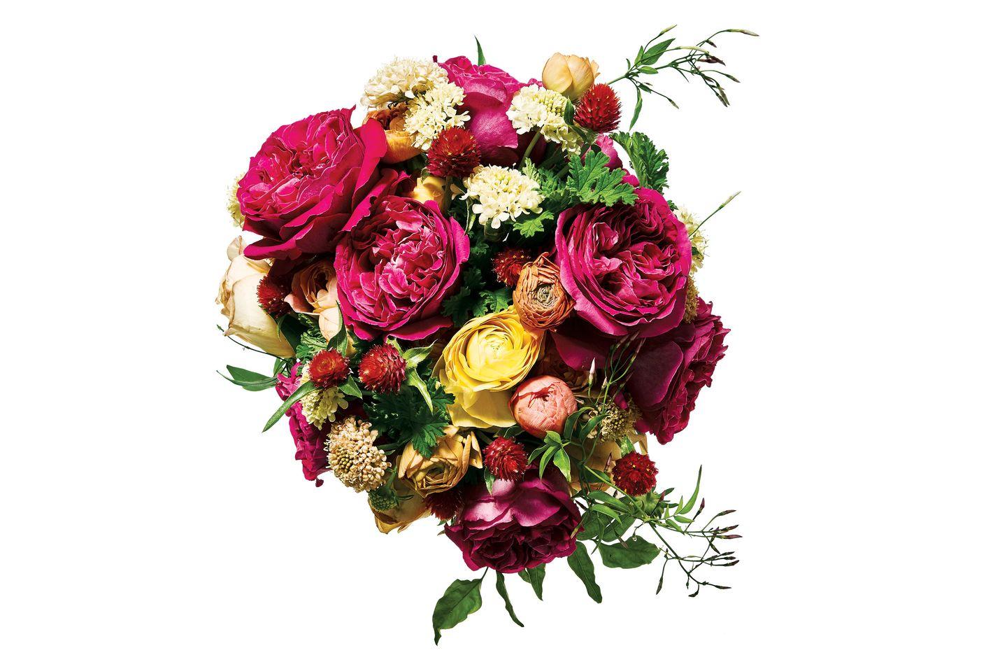 Scabiosa, garden rose, gomphrena, jasmine, geranium, and ranunculus