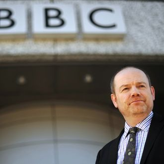 BBC director general Mark Thompson is pictured outside the British Broadcasting Corporation (BBC)'s Television Centre in White City, west London, on March 2, 2010. The British Broadcasting Corporation (BBC) is to slash spending on its online services and close two radio stations in a shake-up which follows criticism of its market dominance, it announced Tuesday. Digital radio stations BBC Asian Network and BBC 6 Music will close from next year as part of a strategic review of the BBC's strategy designed to boost programme funding, said director general Mark Thompson.
