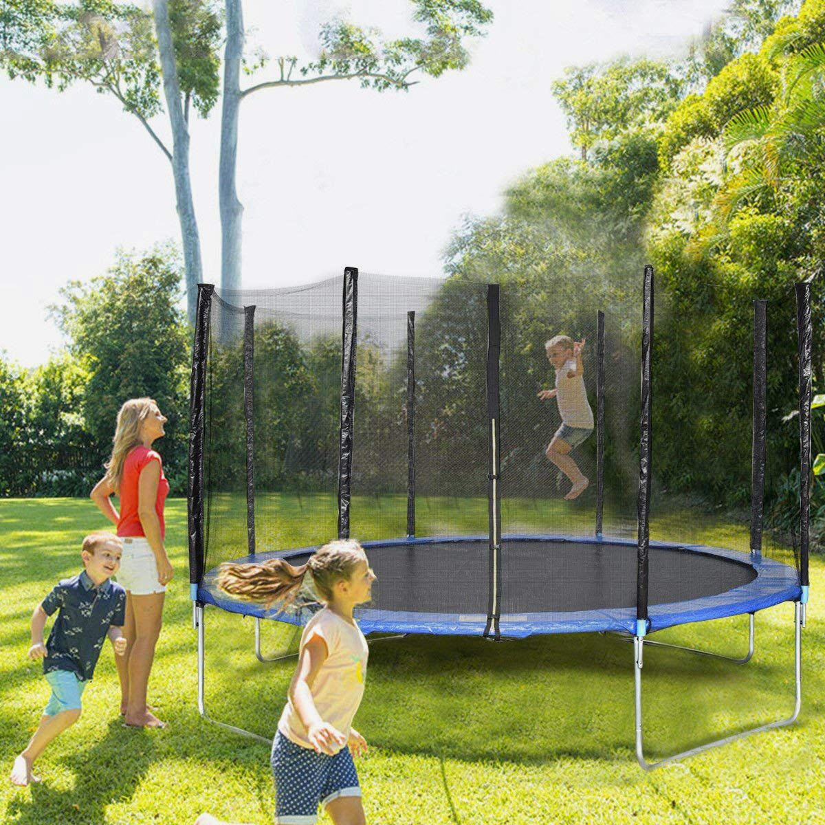 Giantex Trampoline Safety Enclosure Net With Spring Pad Ladder