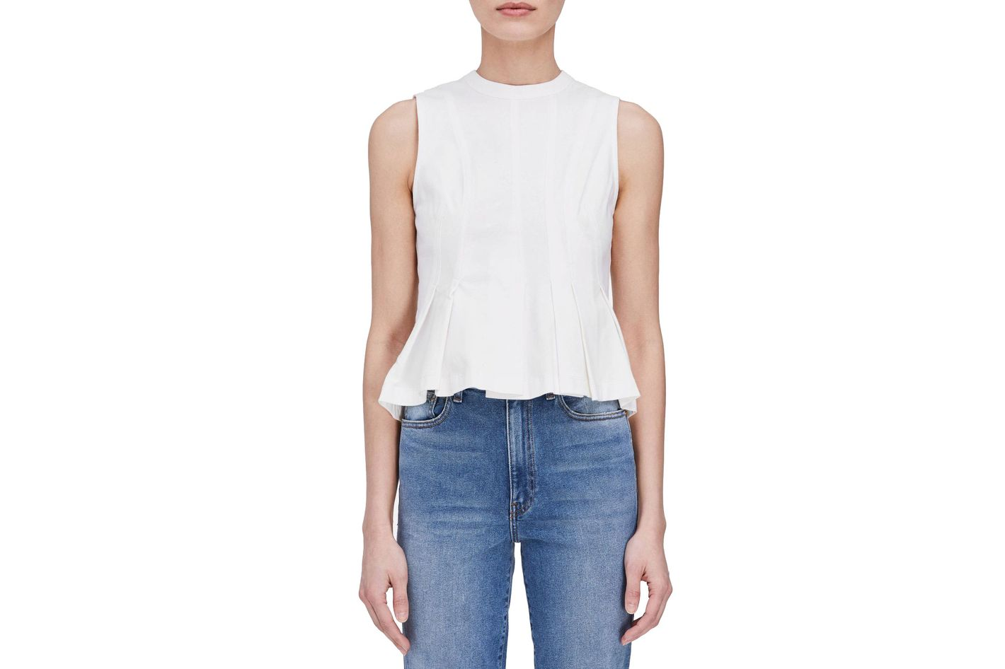 T by Alexander Wang Stiff Cotton Jersey Sleeveless Peplum Top
