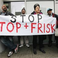 "NEW YORK, NY - JANUARY 27:  Opponents of the New York Police Department's controversial ""stop-and-frisk"" policy rally on January 27, 2012 in the Bronx borough of New York City. The NYPD says the stops assist crime prevention while opponents say they involve racial profiling and civil rights abuses. According to the New York Civil Liberties Union, during the first nine months of 2011 514,461 city residents were stopped by the NYPD. 451,469 were innocent (88 percent), while 54 percent were black, 31 percent Latino and 9 percent white.  (Photo by Mario Tama/Getty Images)"