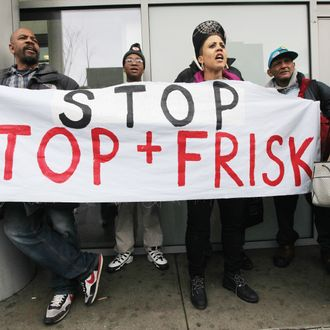NEW YORK, NY - JANUARY 27: Opponents of the New York Police Department's controversial