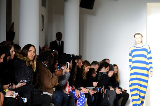 NEW YORK, NY - FEBRUARY 12:  Actor Jared Leto (L) attends the Jeremy Scott fashion show during MADE Fashion Week Fall 2014 at Milk Studios on February 12, 2014 in New York City.  (Photo by Ilya S. Savenok/Getty Images)
