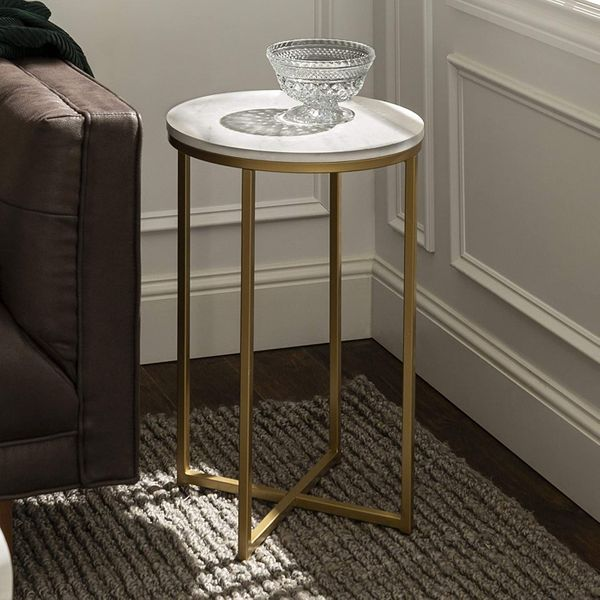 Walker Edison Furniture Company Modern Round Side End Accent Table
