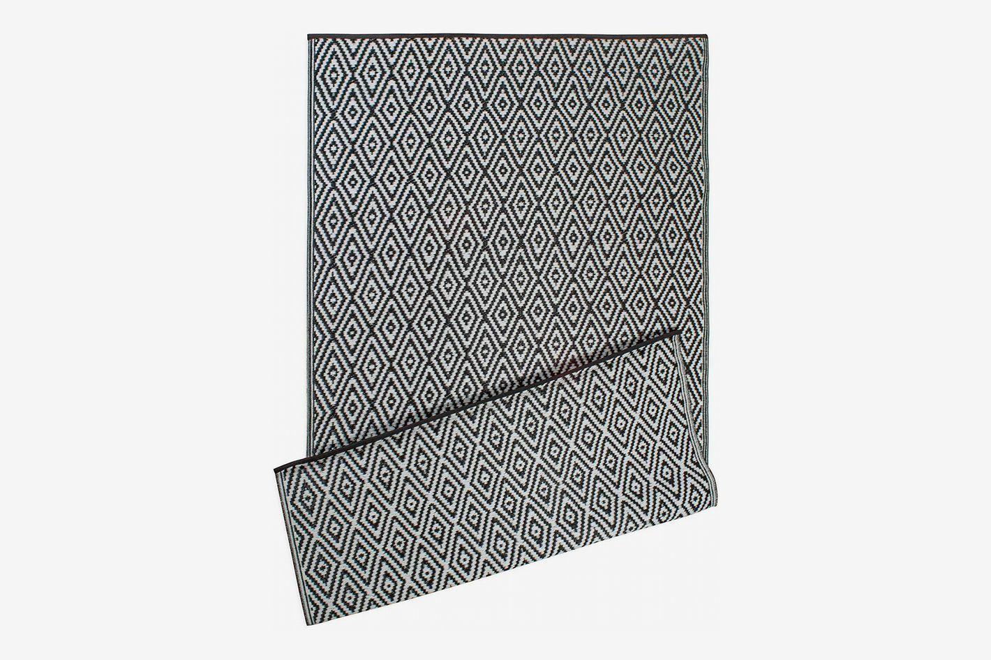 DII Contemporary Indoor/Outdoor Lightweight Reversible Fade Resistant Area Rug, Black Diamond