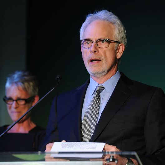 Presenters Christopher Guest and Jamie Lee Curtis speak onstage at Global Green USA's 15th annual Millenium Awards