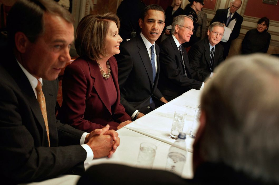 U.S. President-elect Barack Obama (C) meets with Democratic and Republican congressional leadership, including (L-R) House Minority Leader Rep. John Boehner (R-OH), Speaker of the House Rep. Nancy Pelosi (D-CA), Senate Majority Leader Sen. Harry Reid (D-NV) and Senate Minority Leader Sen. Mitch McConnell (RKY) on Capitol Hill January 5, 2009 in Washington, DC. After arriving in Washington over the weekend with his family, Obama met with the Congressional leaders to begin work on an economic stimulus package that he hopes will include hundreds of billions of dollars worth of tax breaks for individuals and businesses.