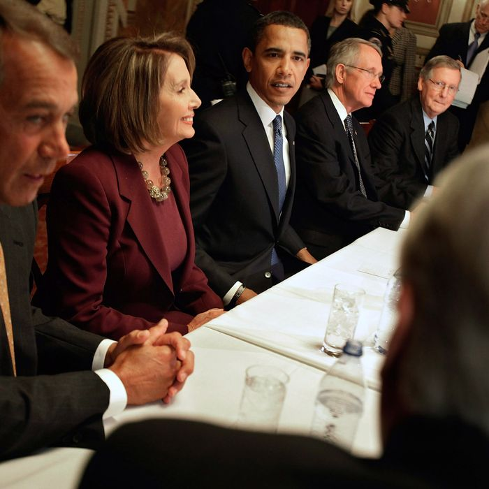 U.S. President-elect Barack Obama (C) meets with Democratic and Republican congressional leadership, including (L-R) House Minority Leader Rep. John Boehner (R-OH), Speaker of the House Rep. Nancy Pelosi (D-CA), Senate Majority Leader Sen. Harry Reid (D-NV) and Senate Minority Leader Sen. Mitch McConnell (RKY)