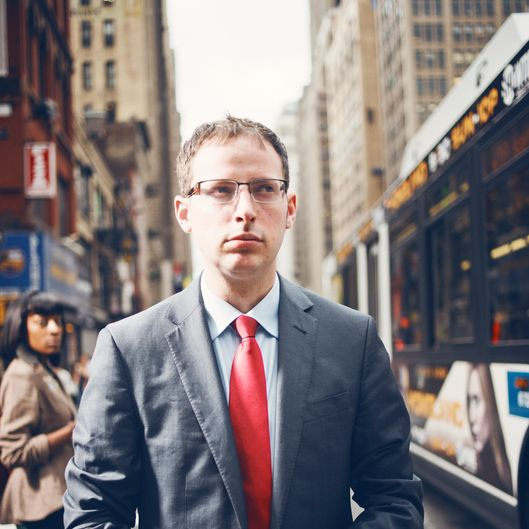 Nate Silver on 40th and 8th avenue next to the New York Times building