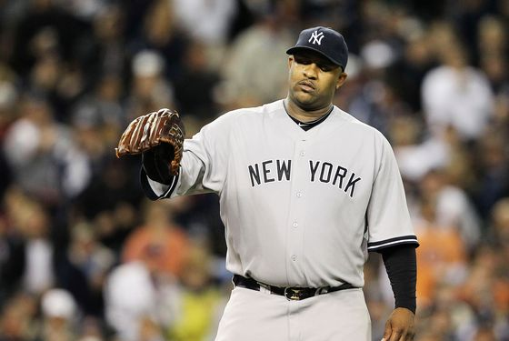 DETROIT - OCTOBER 03: C.C. Sabathia #52 of the New York Yankee reacts after giving up a run in the sixth inning during Game Three of the American League Division Series at Comerica Park on October 3, 2011 in Detroit, Michigan.  (Photo by Leon Halip/Getty Images)