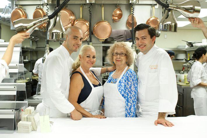 Café Boulud Executive Sous Chef Cesar Gutierrez With His Mother, Aunt, And  Executive Chef Aaron Bludorn.