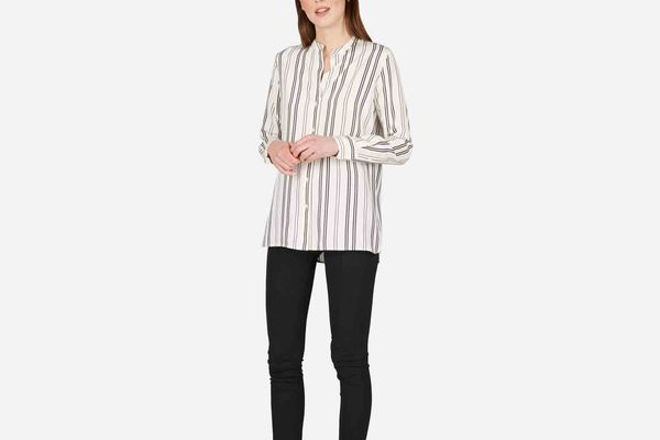 Everlane The Relaxed Silk Collarless Shirt