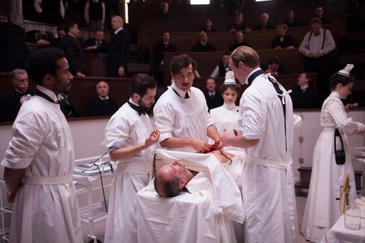 THE KNICK: Andre Holland, Michael Angarano, Clive Owen, Louis Butelli, Eve Hewson, Eric Johnson.