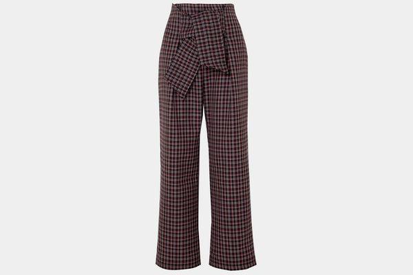 Paper London Twin Checked Wool-Blend Wide-Leg Pants