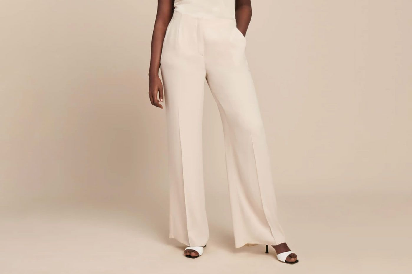 JOFOW Wide Leg Pants Womens Long Solid Strappy High Waist Trousers