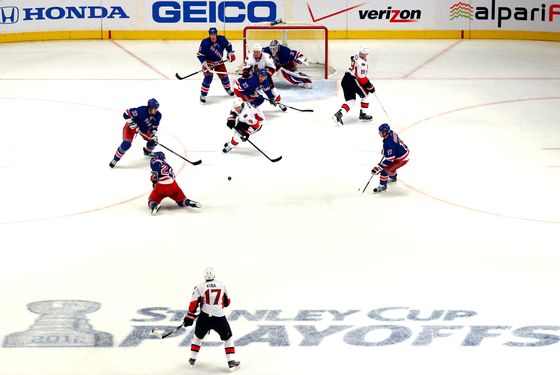 NEW YORK, NY - APRIL 12:  A general view of the Ottawa Senators on offense against the New York Rangers in Game One of the Eastern Conference Quarterfinals during the 2012 NHL Stanley Cup Playoffs at Madison Square Garden on April 12, 2012 in New York City.  (Photo by Chris Chambers/Getty Images)