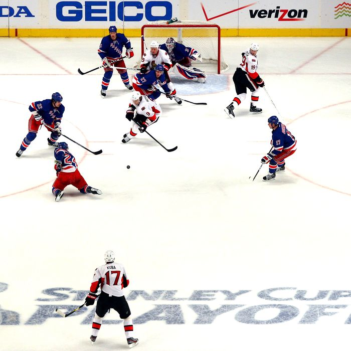 A general view of the Ottawa Senators on offense against the New York Rangers in Game One of the Eastern Conference Quarterfinals